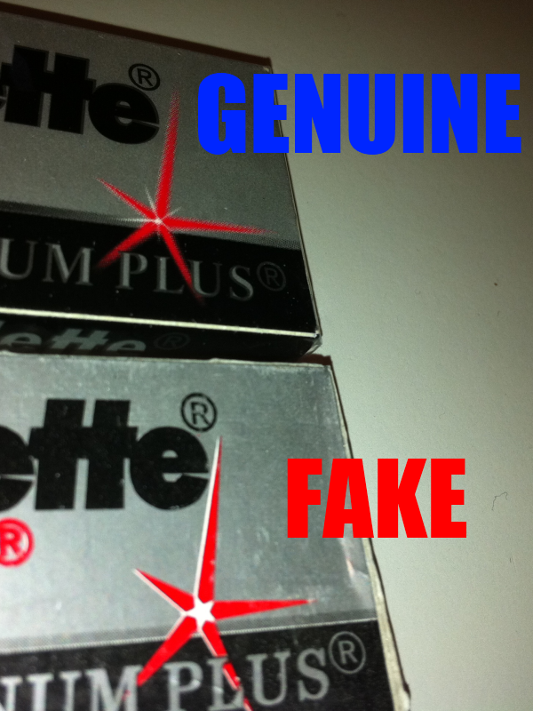 Difference between counterfeit and real Gillette Rubie Platinum Plus boxes